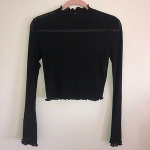 TWIIN Mesh Mock Neck Long Sleeve Crop Top